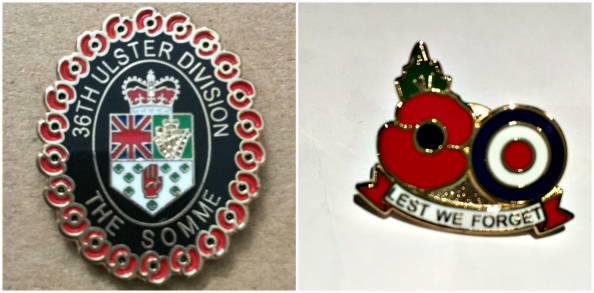 36th Ulster Division and Lest We Forget Lapel Pin Badge Set