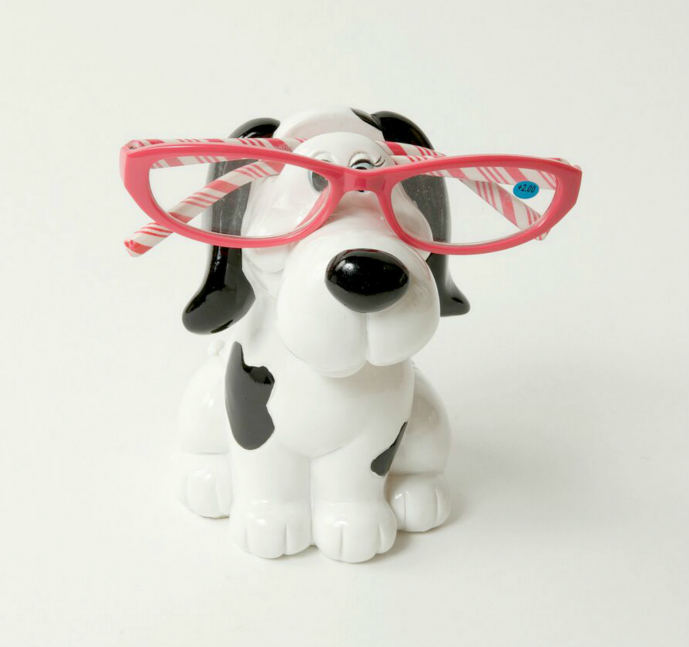 Piggy Bank Black and White Dog Eye Glass Holder
