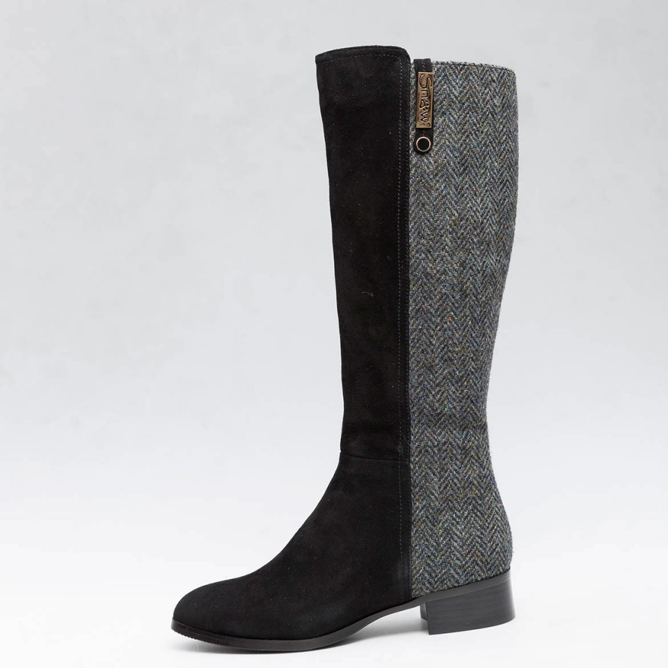 Knee High Sheepskin Boots Made With Black Harris Tweed