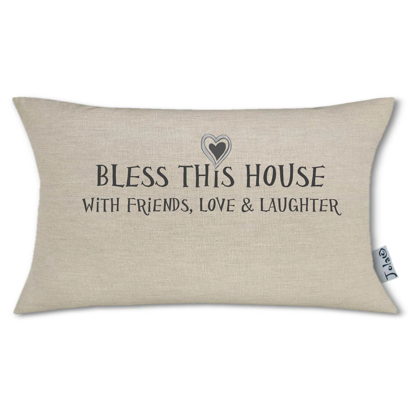 Bless This House Large Linen Boudoir Cushion