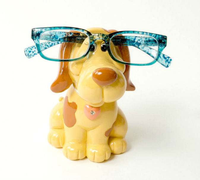 Piggy Bank Brown Dog Eye Glass Holder