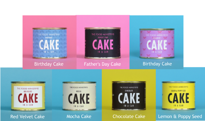 Cake in a Can - 7 Assorted Designs and Flavours - Pick Any 3