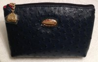 Claudia Canova Large Navy Cosmetic Purse - Ostrich Print