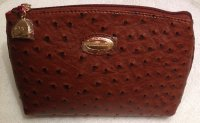Claudia Canova Large Tan Cosmetic Purse - Ostrich Print