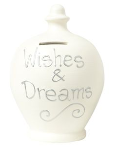 Cream Money Pot with Wishes and Dreams written in Silver