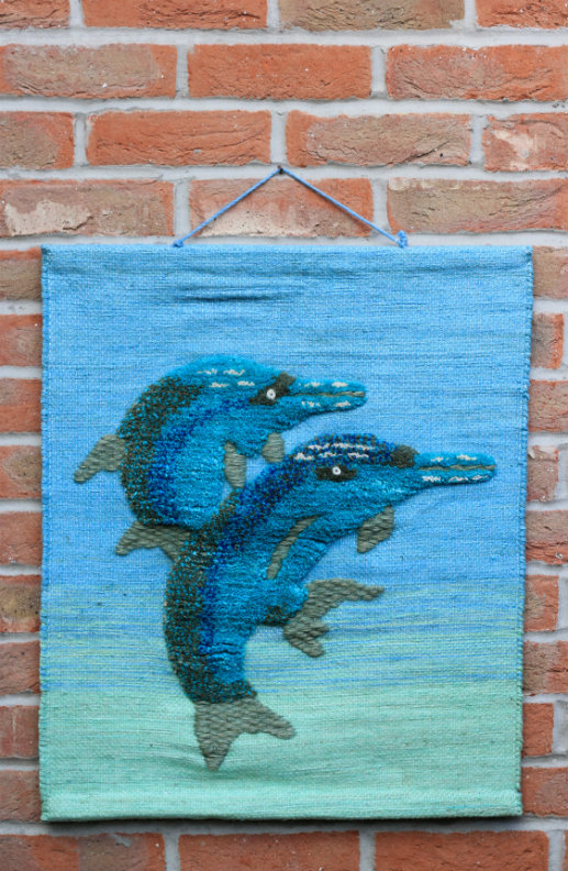 Dolphins Hand-made Jute Tapestry Wall Hanging