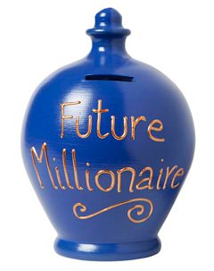 Electric Blue Money Pot with Future Millionaire written in Gold