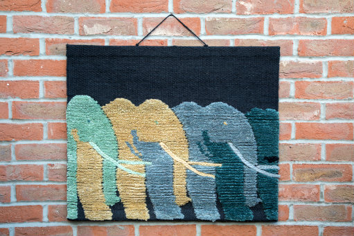 Elephants Hand-made Jute Tapestry Wall Hanging
