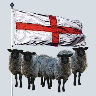 England Flag and Sheep Greeting Card