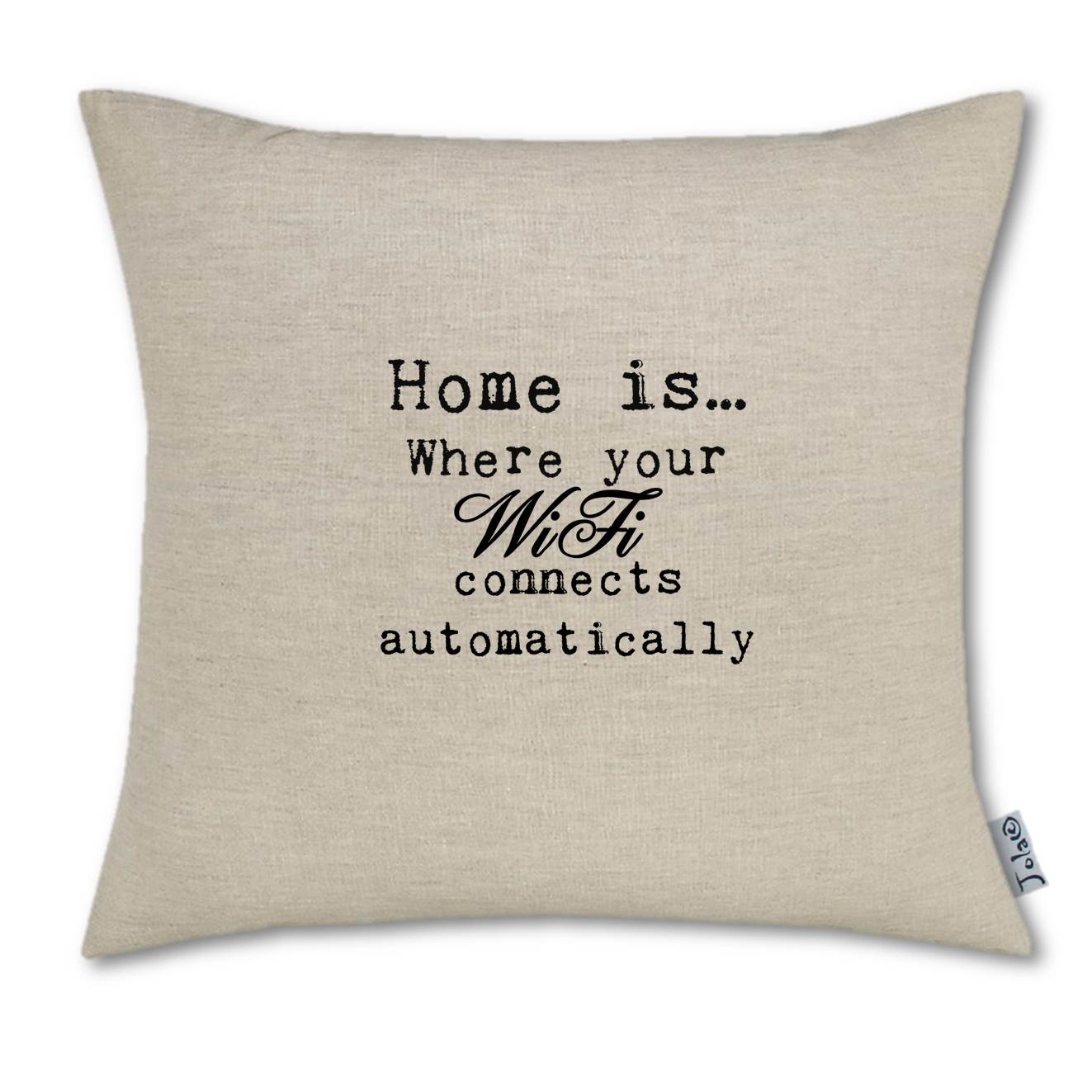 Home Is Where Your Wifi Large Linen Cushion