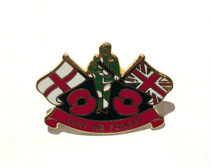 Lest We Forget British Soldier Poppy Enamel Lapel Pin Badge