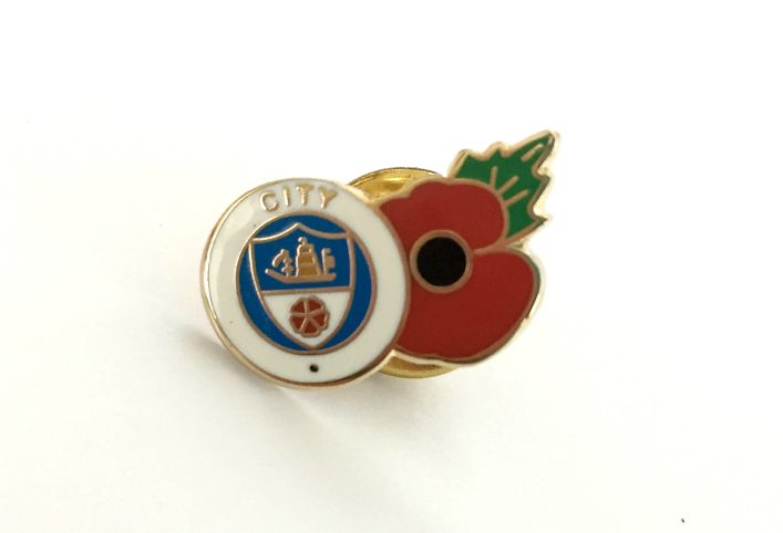 Man City Football Club Poppy Enamel Lapel Pin Badge