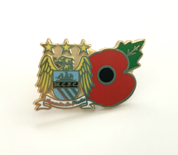 Manchester City Football Club Poppy Enamel Lapel Pin Badge