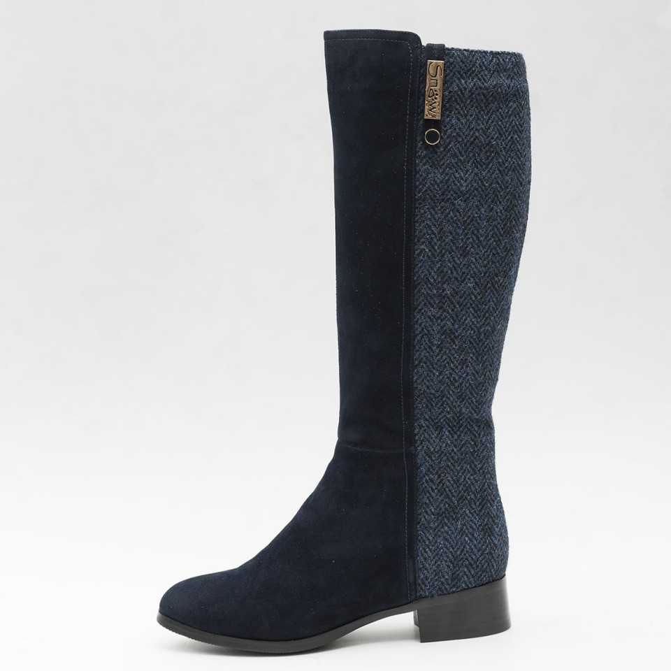 Knee High Sheepskin Boots Made With Navy Harris Tweed