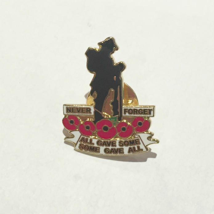 Never Forget Soldier Poppy Enamel Lapel Pin Badge