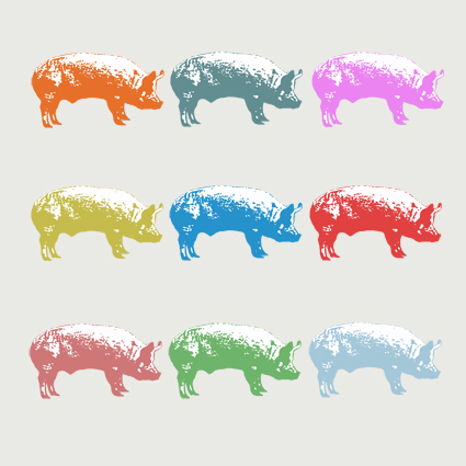 Nine Pigs Greeting Card