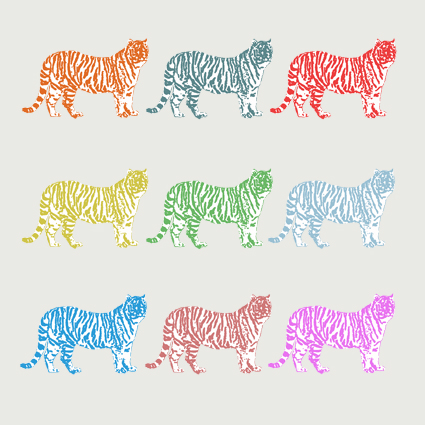 Nine Tigers Greeting Card