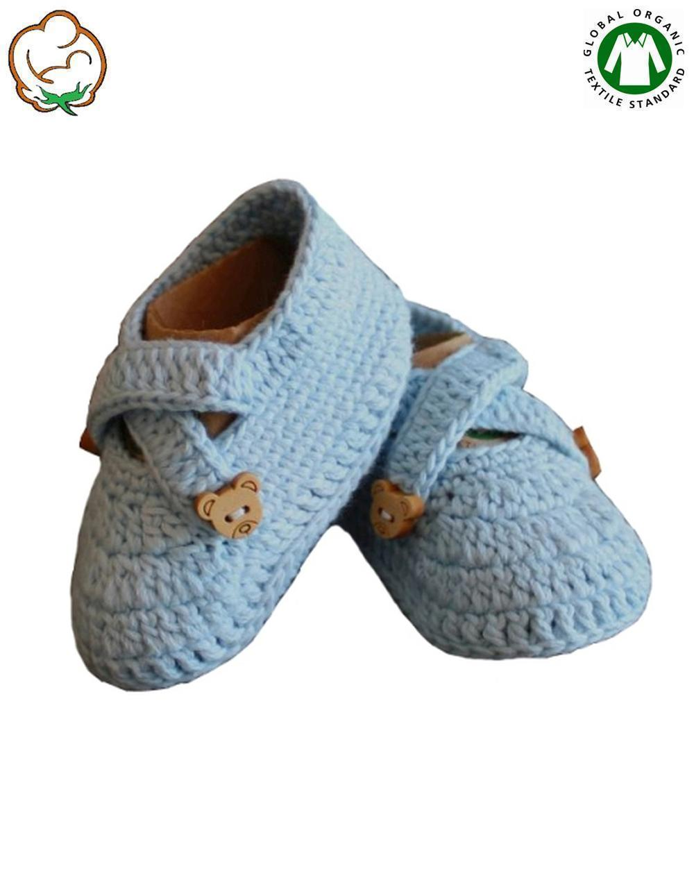 Organic Baby Boy Bootees in Blue Cross