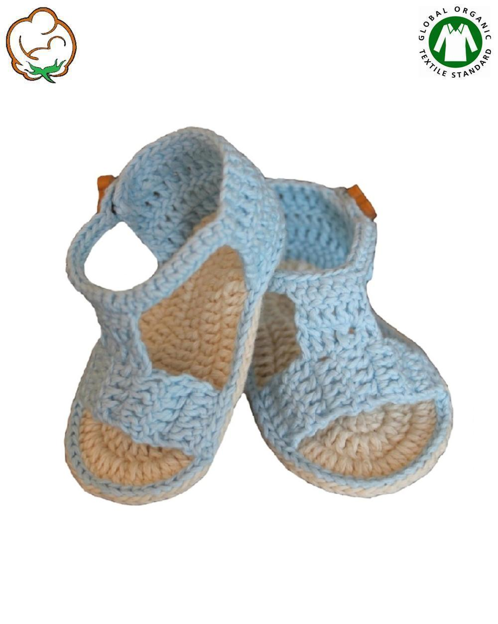 Organic Baby Boy Bootees in Blue Sandal