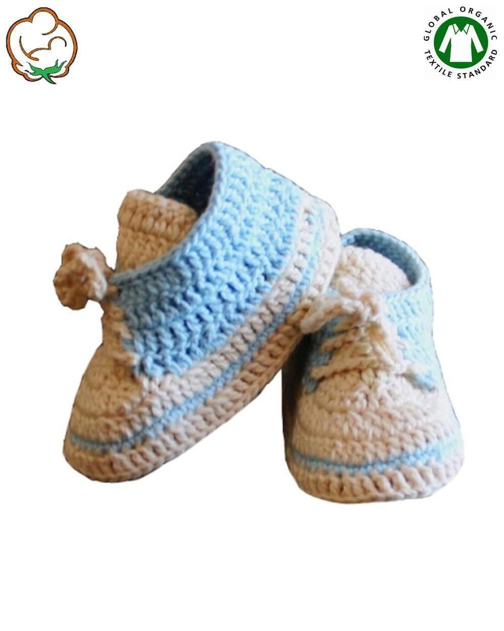 Organic Baby Boy Bootees in Blue Sport