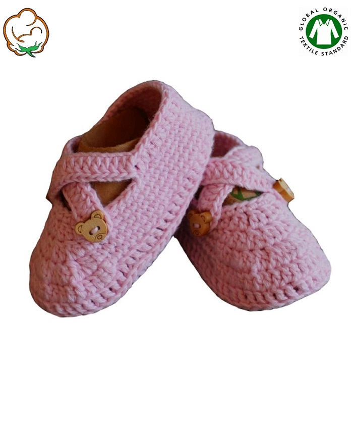 Organic Baby Girl Bootees in Pink Cross