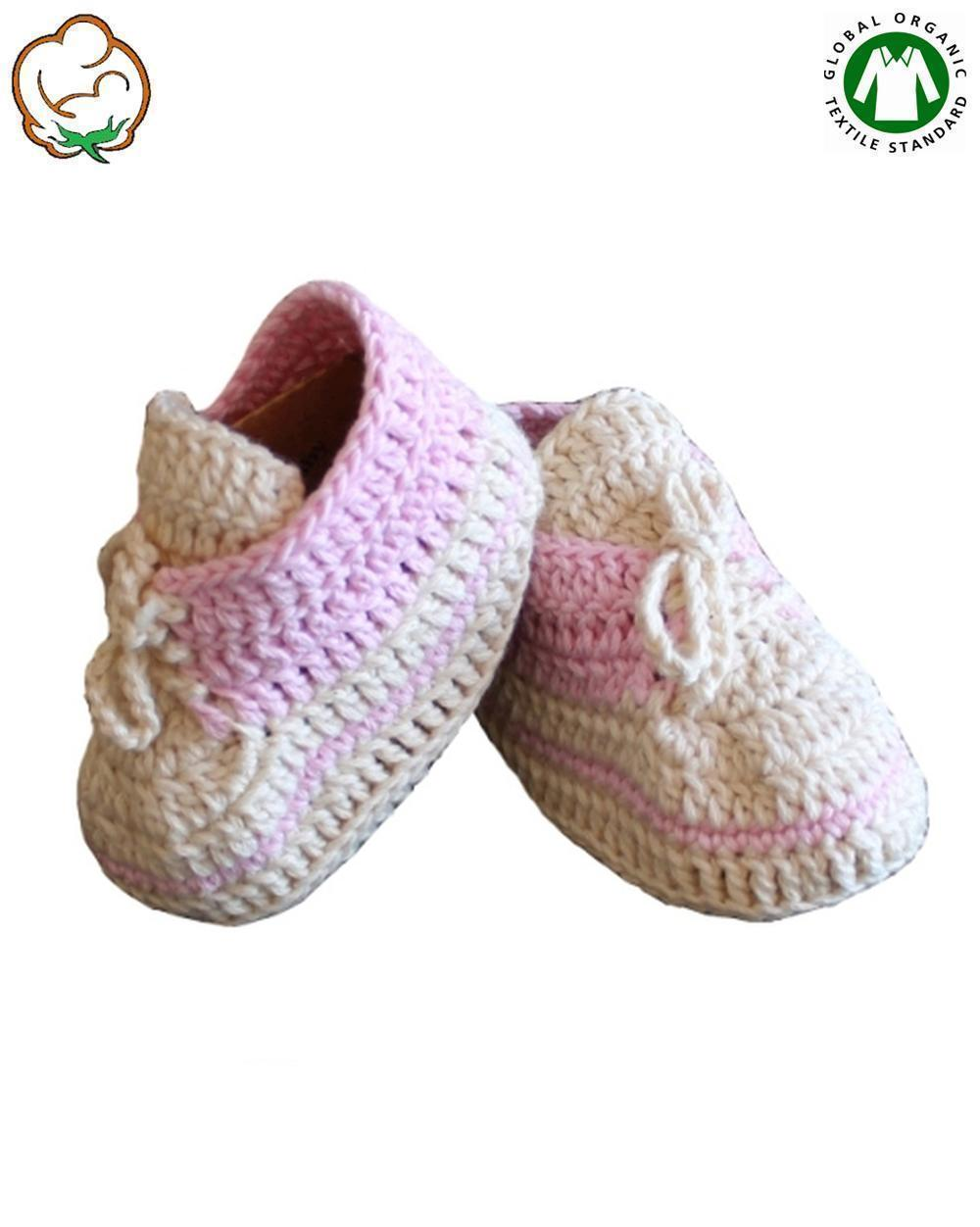 Organic Baby Girl Bootees in Pink Sport