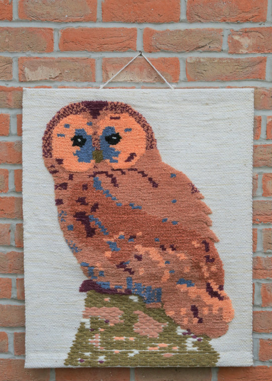 Owl Hand-made Jute Tapestry Wall Hanging