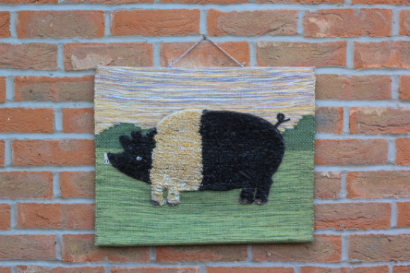 Pig Hand-made Jute Tapestry Wall Hanging