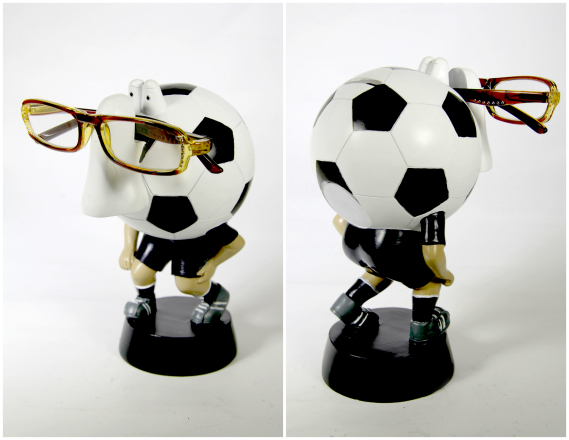 Piggy Bank Soccer Sports Nose Eye Glass Spectacles Holder - Blk