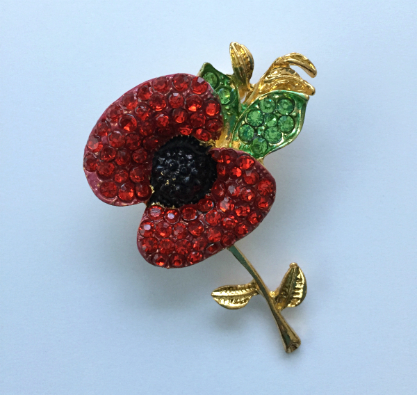 Poppy Crystal Brooch With Gold Colored Stem