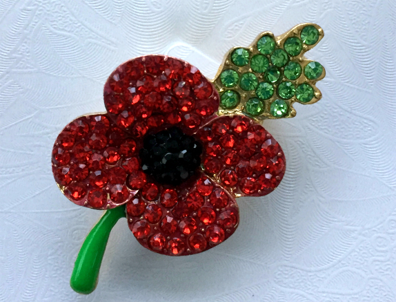 Poppy Crystal Brooch With Green Colored Stem