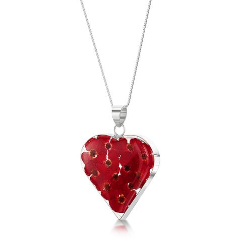 Poppy Large Heart Pendant with Silver Chain