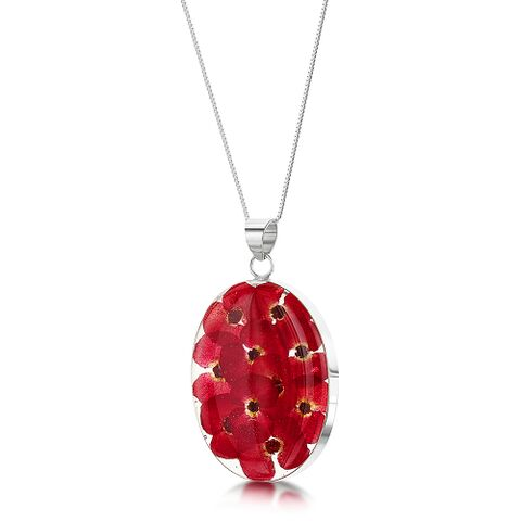 Poppy Large Oval Pendant with Silver Chain