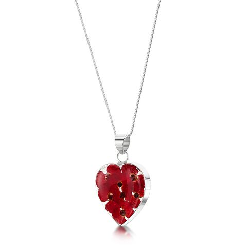 Poppy Medium Heart Pendant with Silver Chain