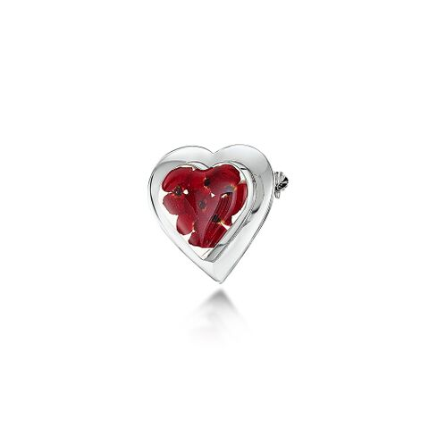 Poppy Silver Brooch with Large Heart