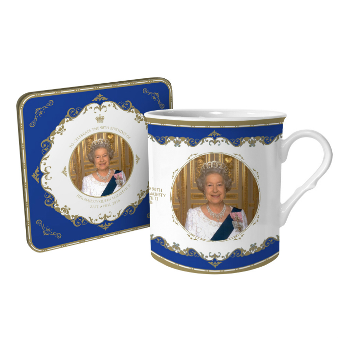 Queen Elizabeth II 90th Birthday Bone China Mug and Coaster Set