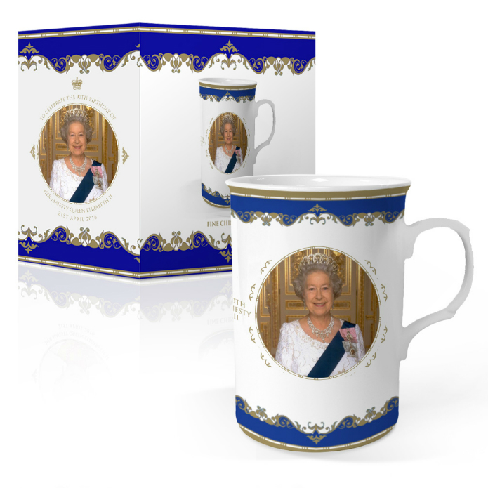 Queen Elizabeth II 90th Birthday Bone China Can Shaped Mug