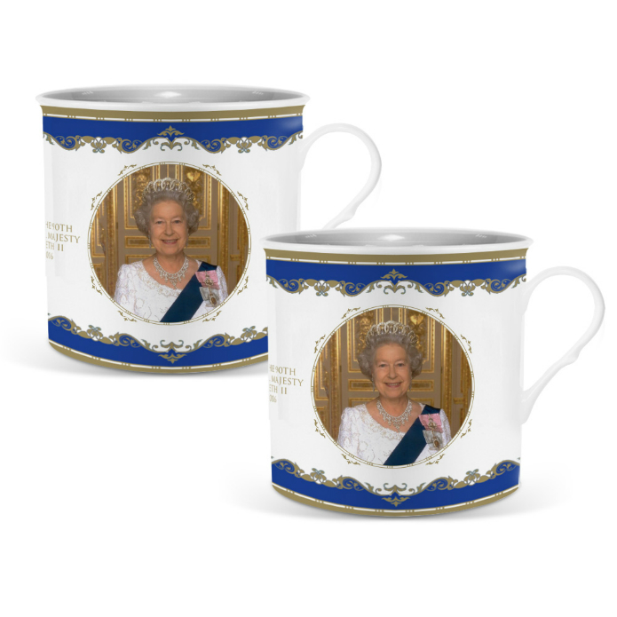 Queen Elizabeth II 90th Birthday Bone China Palace Mug Set of 2