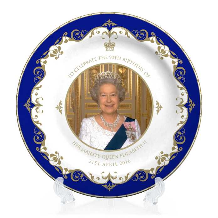 Queen Elizabeth II 90th Birthday Large Bone China Plate