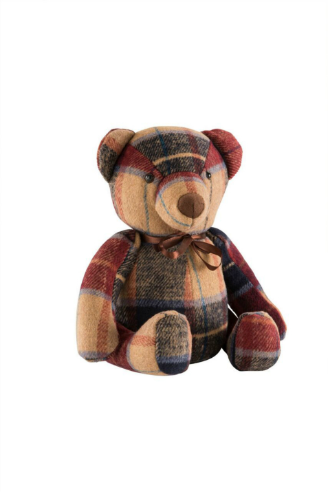 Red Tweed Bear Door Stopper