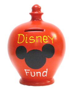 Red Money Pot with Disney Fund written in Yellow and White