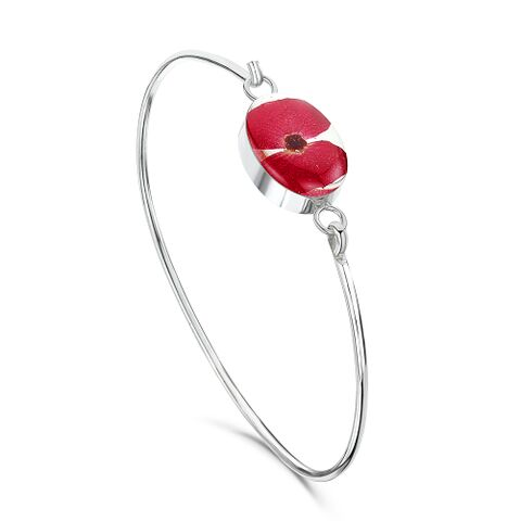 Sterling Silver Bangle with Poppy Oval