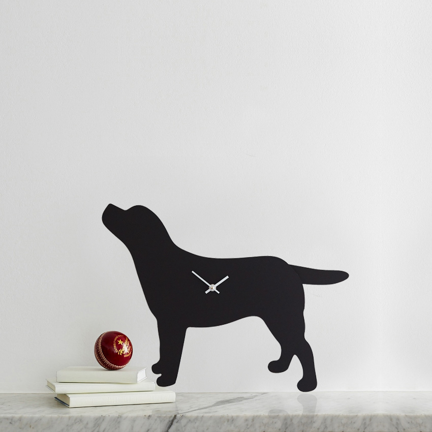 Black Labrador Battery Operated Wall Clock