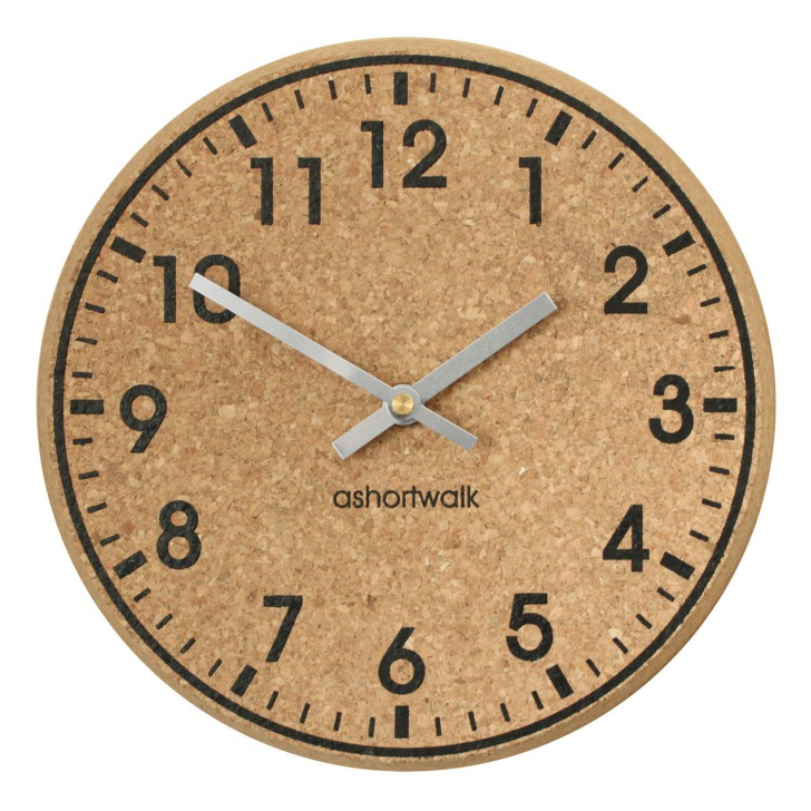 Chunky Cork Time Wall Clock - Black and Silver
