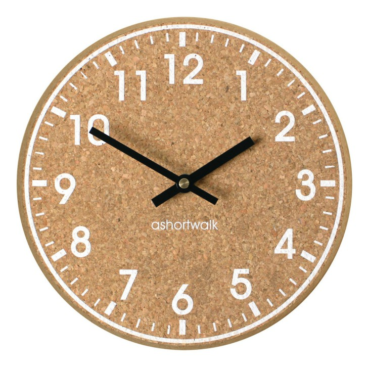 Chunky Cork Time Wall Clock - White and Black