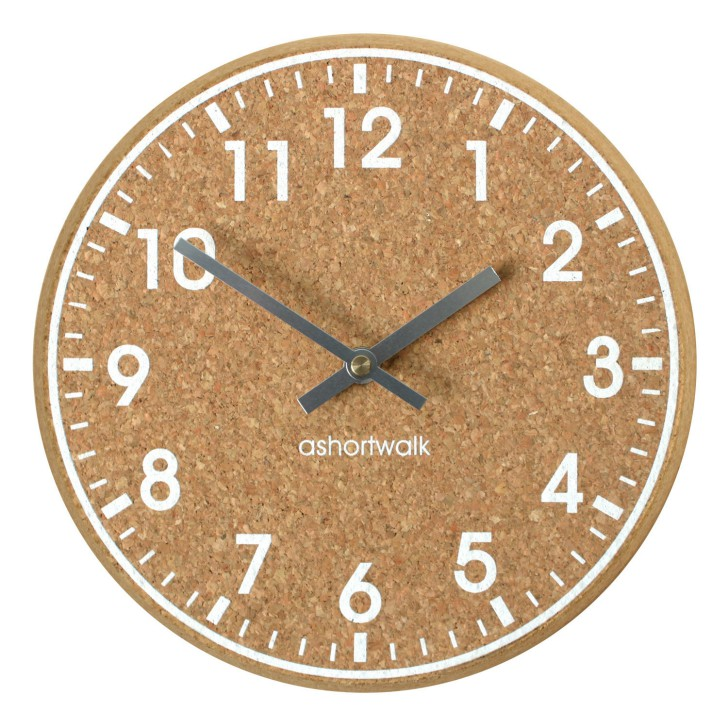 Chunky Cork Time Wall Clock - White and Silver