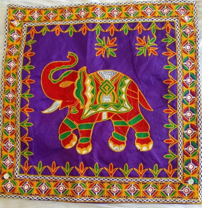Embroidered Cushion Cover - Elephant