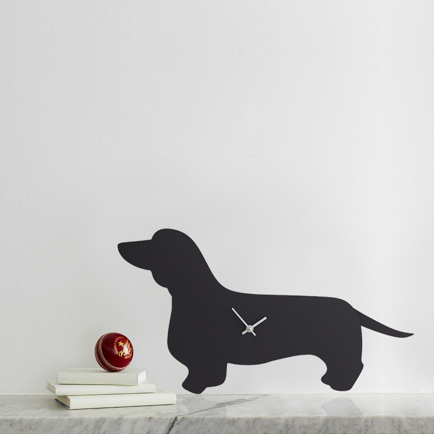 Black Dachshund Battery Operated Wall Clock