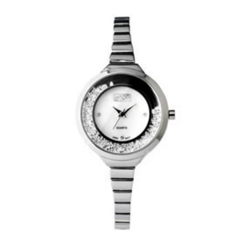 Eton Ladies Bracelet Moving Stone Case Chrome Finish Wrist Watch