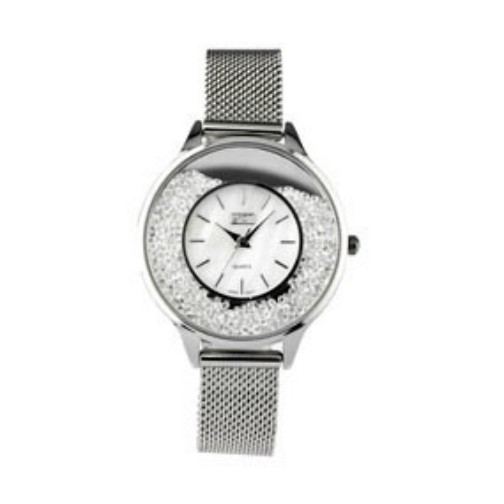 Eton Ladies Mesh Bracelet Moving Stone Case Chrome Wrist Watch